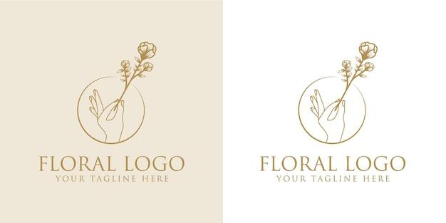 スパサロンスキンヘアケアのための手描きの女性の美しさと花の植物のロゴフレーム