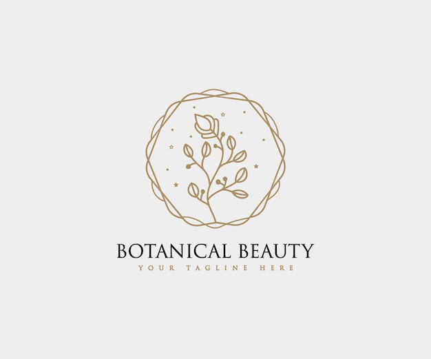 スパサロンスキンヘアケアのための手描きのフェミニンな美しさと花の植物のロゴフレーム