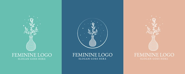 Ручной обращается женская красота и цветочный ботанический логотип