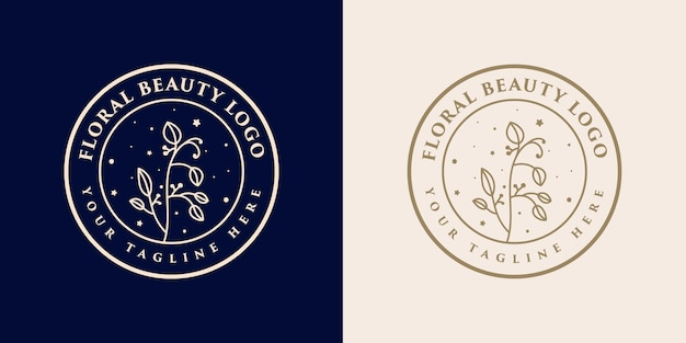 スパサロンのスキン&ヘアケアのための手描きの女性の美しさと花の植物のロゴのテンプレート