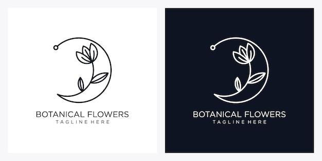 手描きのフェミニンな美しさと花の植物の最小限のロゴ