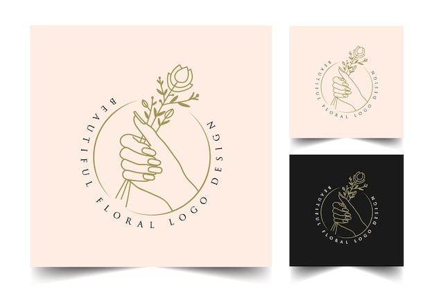 Hand drawn feminine beauty boho logo with woman hand nail rose flower branch leaf star for salon spa