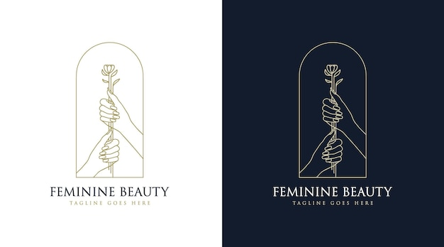 Hand drawn feminine beauty boho logo with woman hand nails flower and leaf for salon and spa brand