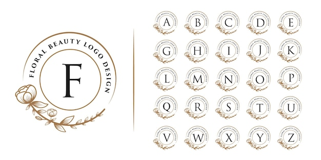 Hand drawn feminine beauty and floral botanical logo all initials alphabet letter for spa salon skin & hair care Premium Vector