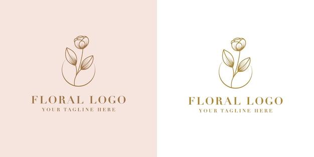 Hand drawn feminine beauty and floral botanical logo frame for spa salon skin & hair care