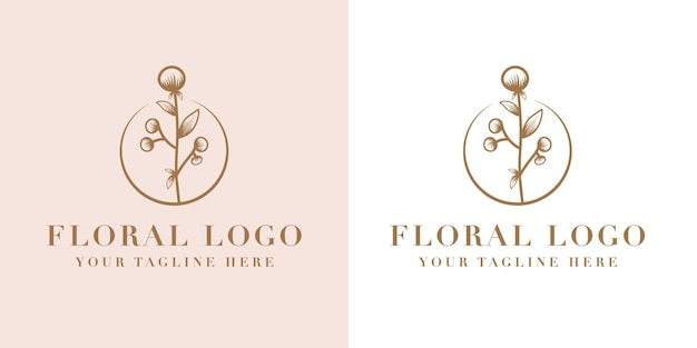 Hand drawn feminine beauty and floral botanical logo frame for spa salon skin & hair care Premium Vector