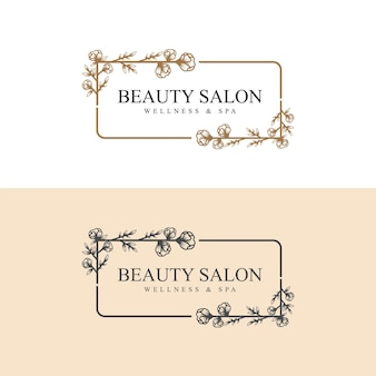 Hand drawn feminine beauty and floral botanical logo frame for spa salon skin  hair care