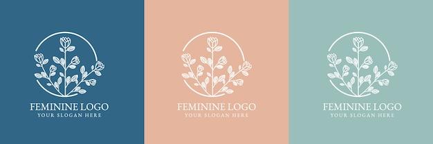 Hand drawn feminine beauty and floral botanical logo for spa salon skin & hair care