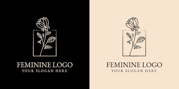 Hand drawn feminine beauty and floral botanical logo for spa salon skin & hair care