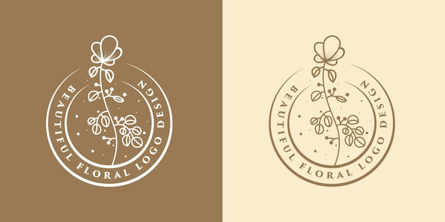 Hand drawn feminine beauty and floral botanical logo