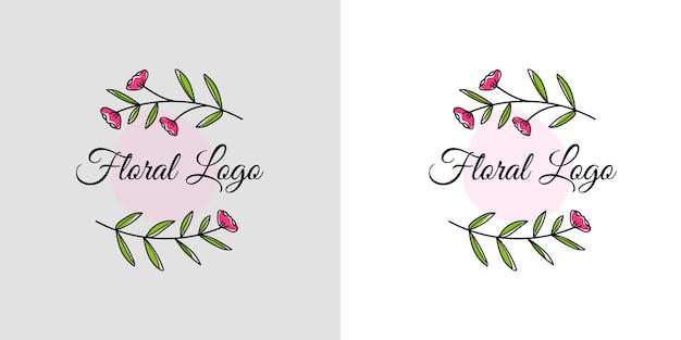 손으로 그린 꽃과 잎으로 여성의 아름다움 꽃 로고