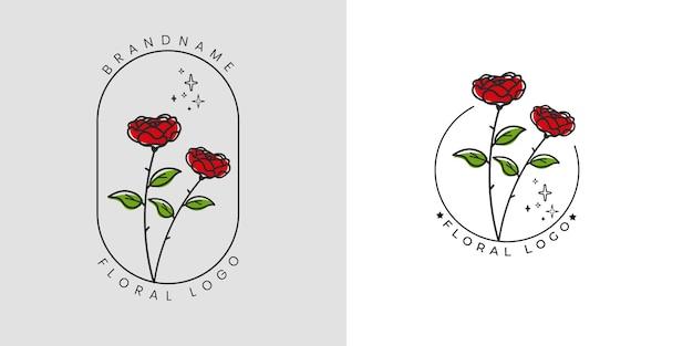 花と葉と手描きのフェミニンな美しさの花のロゴ