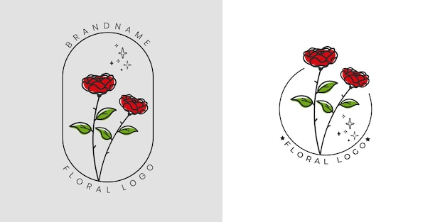 Hand drawn feminine beauty floral logo with flowers and leaves
