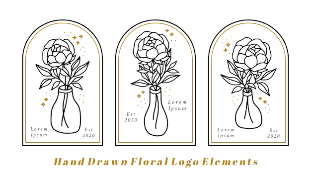 Hand drawn feminine beauty logo elements with peony flower, leaf branch, and bottle