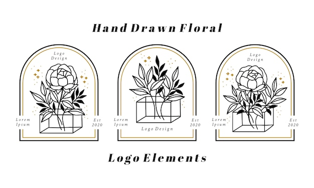 Hand drawn feminine beauty logo elements with peony flower and leaf branch