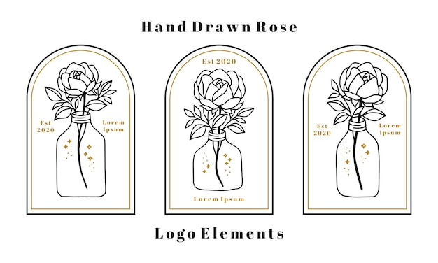 Ручной обращается элементы женской красоты логотип с розовым цветком, ветви листьев и бутылка