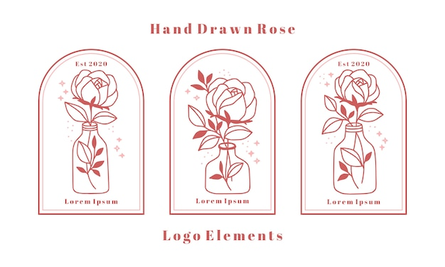 Hand drawn feminine beauty logo elements with rose flower, leaf branch, and bottle