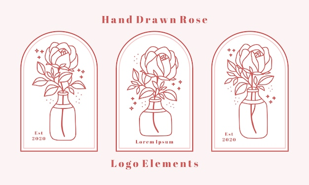 Hand drawn feminine beauty logo elements with rose flower, leaf branch, and jar