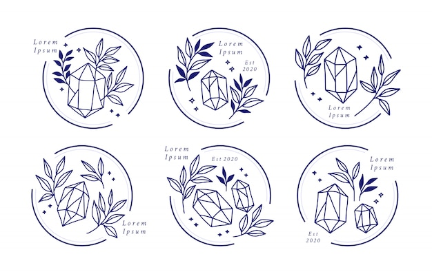 Hand drawn feminine beauty logo with crystal and botanical leaves