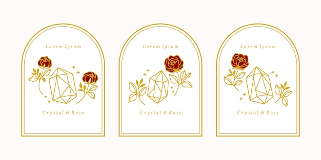 Hand drawn feminine beauty logo with crystal, rose flower and botanical leaves