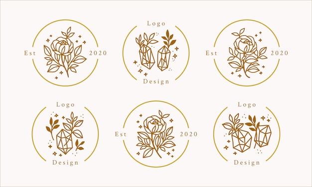 Hand drawn feminine beauty logo with gold flowers, crystals, and stars