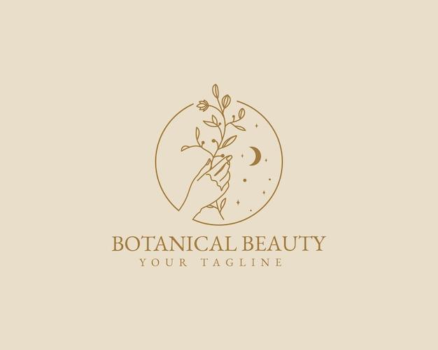 손으로 그린 여성스러운 아름다움 최소한의 꽃 식물 한 로고 스파 살롱 스킨 헤어 케어 브랜드