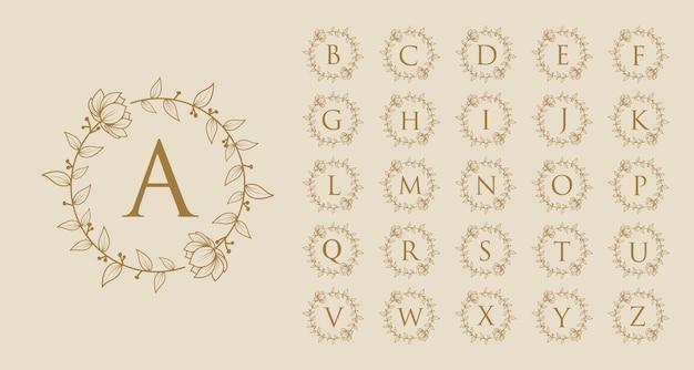손으로 그린 여성의 아름다움 최소 꽃 식물 로고 a ~ z 브랜드의 초기 문자 로고