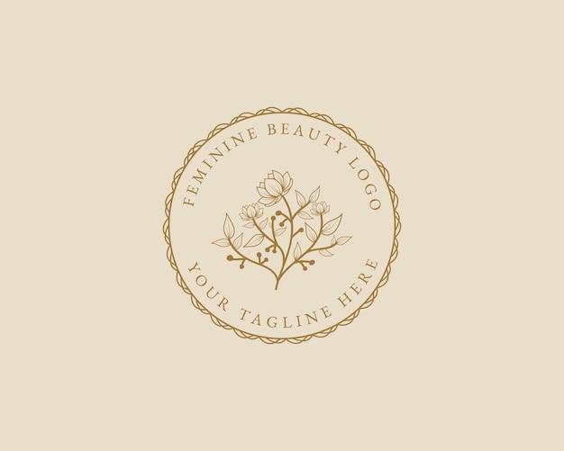스파 살롱 스킨 헤어 케어 브랜딩을 위한 손으로 그린 여성의 아름다움 최소 꽃 식물 로고