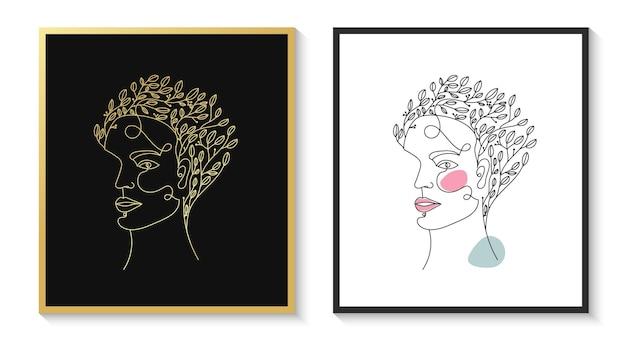 手描きのフェミニンな美しさの女性の顔の頭のミニマリスト花のラインアートの肖像画
