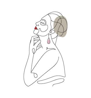 手描きのフェミニンな美しさの女性の顔の頭のミニマリスト花柄ワンラインアートの肖像画