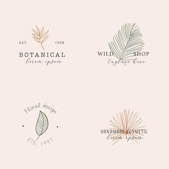 Hand drawn feminine botanical logos modern boho tropical elements in trendy line art style