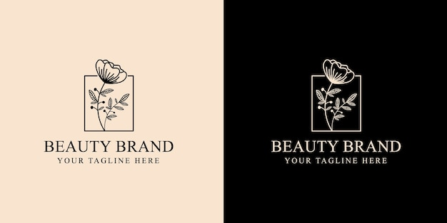 Hand drawn feminine and floral botanical logo suitable for spa salon skin hair beauty boutique and cosmetic company