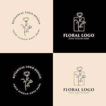 Hand drawn feminine floral botanical logo