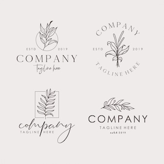 Hand drawn feminine floral vector signs or logo templates set