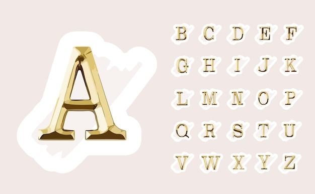 Hand drawn feminine initial logo design with gold capital letters