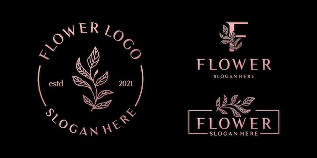 Hand drawn feminine logo templates set