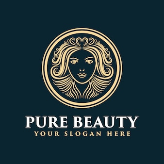 Hand drawn feminine logo with face and hair suitable for spa salon skin hair and beauty company