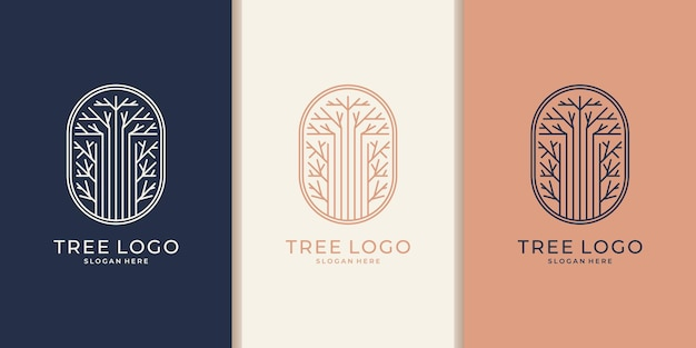 Hand drawn feminine and modern tree template logo design
