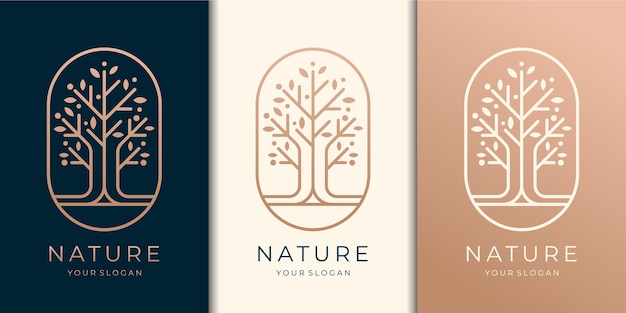Hand drawn feminine and modern tree template logo set,