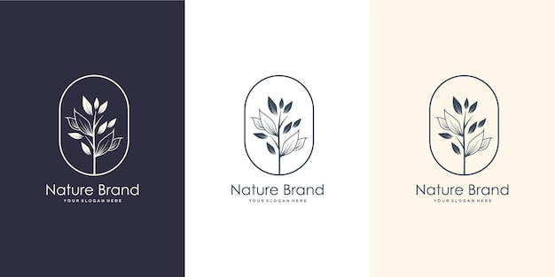 Hand drawn feminine nature brand. logo for spa salon, skin , beauty, boutique,natural,leaf,tree and cosmetic .