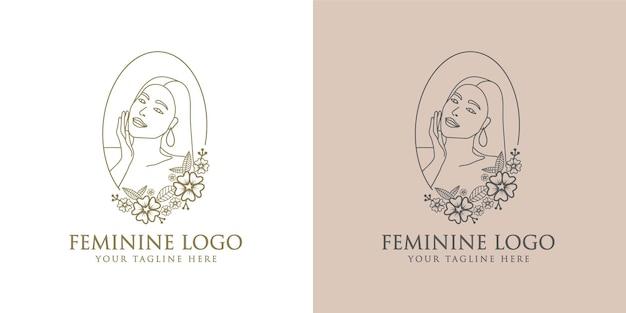 Hand drawn feminine woman floral beauty face botanical logo