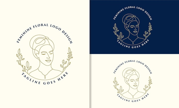 Hand drawn feminine woman floral beauty face botanical logo Premium Vector