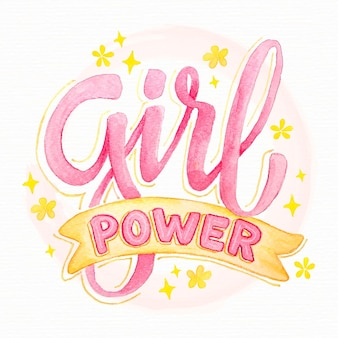 Hand drawn feminist lettering girl power