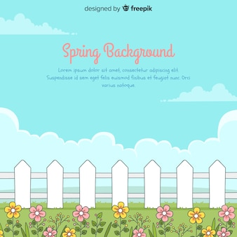 Hand drawn fence spring background
