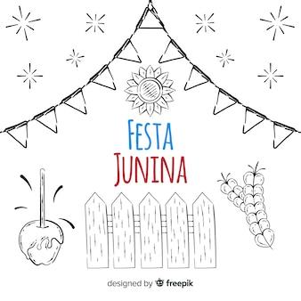 Hand drawn festa junina background