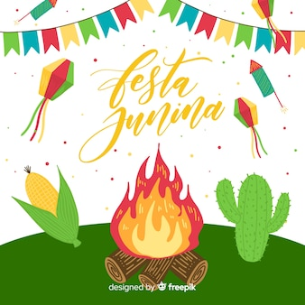Hand drawn festa junina background
