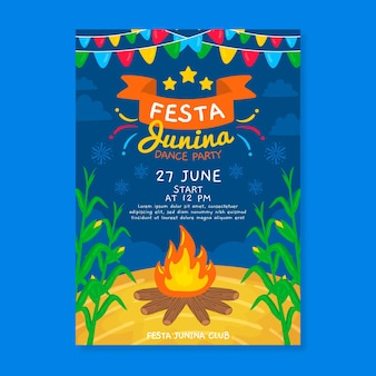 Hand drawn festa junina campfire poster
