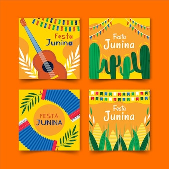 Hand drawn festa junina card collection template