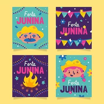 Hand drawn festa junina card collection