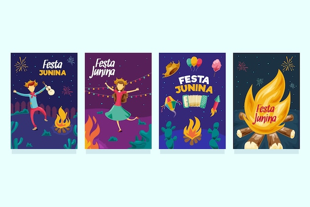 Hand drawn festa junina card collection